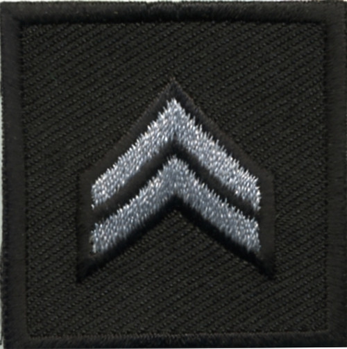 """CPL, Embroidered Rank, Pair, Silver/Black, Solid, 1-1/2x1-1/2"""""""