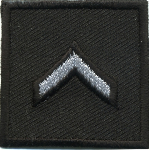 """PFC, Embroidered Rank, Pair, Silver/Black, 1-1/2x1-1/2"""""""
