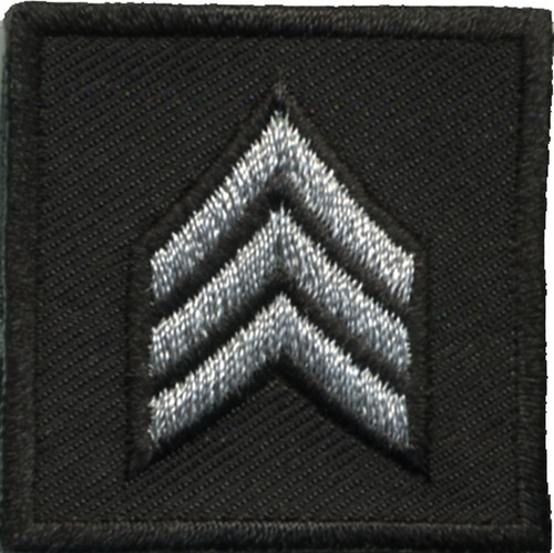 """SGT, Embroidered Rank, Pair, Silver/Black, Outline, 1-1/2x1-1/2"""""""