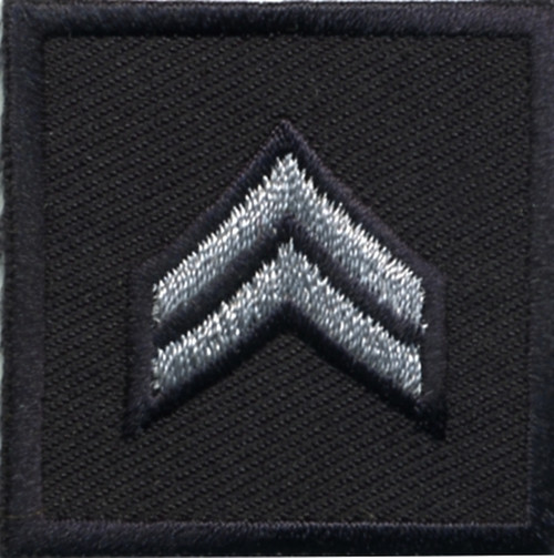 """CPL, Embroidered Rank, Pair, Silver/Midnight, Solid, 1-1/2x1-1/2"""""""