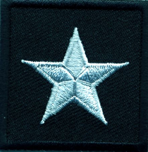 """General (1 Star), Embroidered Rank, Pair, Silver/Black, 1-1/2x1-1/2"""""""