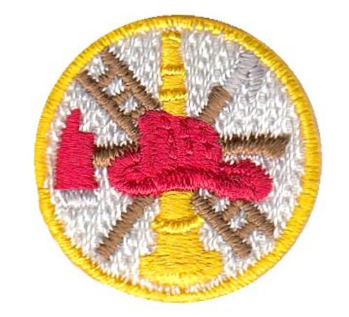 """Fire Scramble, Collar Insignia, 100% Embroidery, Gold Border/White, 1"""" Circle"""