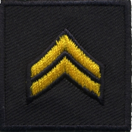 """CPL, Embroidered Rank, Pair, MedGold/Midnight, Solid, 1-1/2x1-1/2"""""""