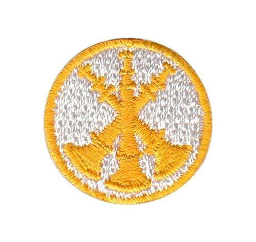 """Asst. Chief, 3 Bugles, Collar Insignia, 100% Embroidery, Gold/White, 1"""" Circle"""