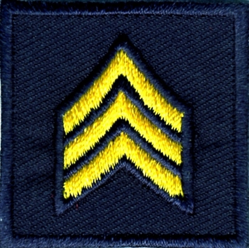 """SGT, Embroidered Rank, Pair, MedGold/Midnight, Outline, 1-1/2x1-1/2"""""""