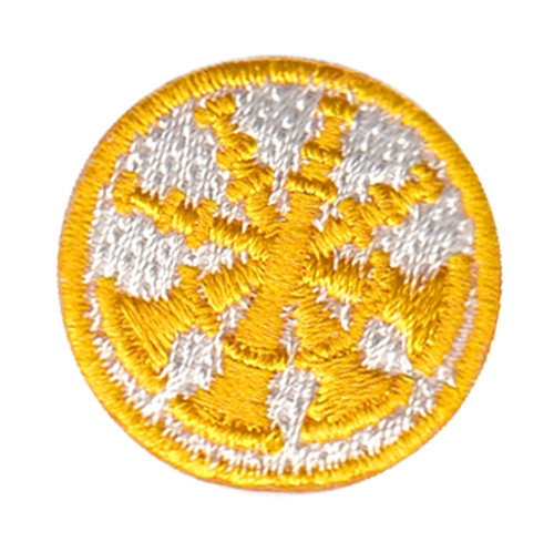 """Deputy Chief, 4 Bugles, Collar Insignia, 100% Embroidery, Gold/White, 1"""" Circle"""