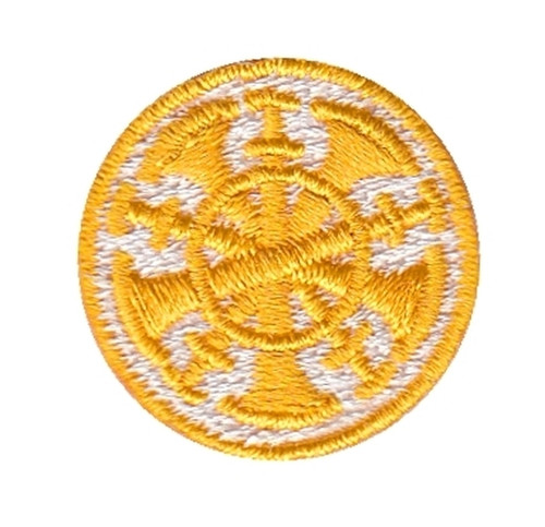 """Chief, 5 Bugles, Collar Insignia, 100% Embroidery, Gold/White, 1"""" Circle"""