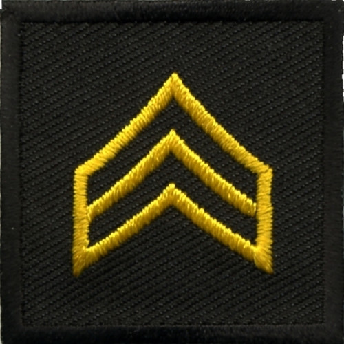 """SGT, Embroidered Rank, Pair, Med. Gold/Black, 1-1/2x1-1/2"""""""