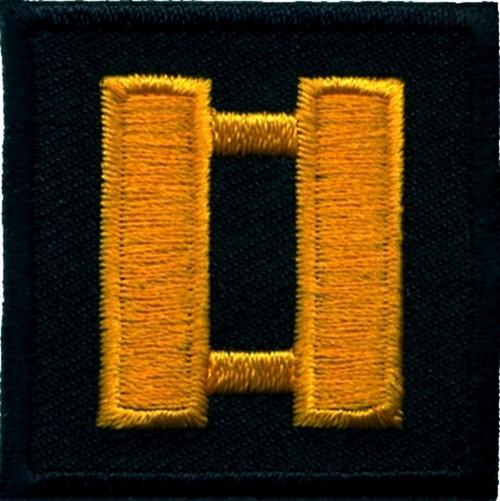 "Captain, Embroidered Rank, Pair, Dark Gold/Black, 1-1/2x1-1/2"""