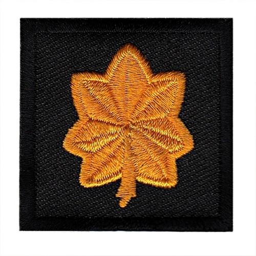 "Major, Embroidered Rank, Pair, Dark Gold/Black, 1-1/2x1-1/2"""