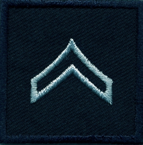 """CPL, Embroidered Rank, Pair, Silver/Midnight, 1-1/2x1-1/2"""""""