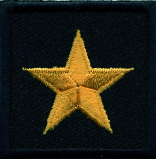 "General (1 Star), Embroidered Rank, Pair, Dark Gold/Black, 1-1/2x1-1/2"""