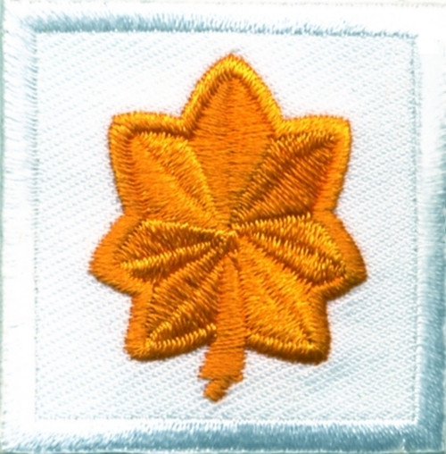 "Major, Embroidered Rank, Pair, Dark Gold/White, 1-1/2x1-1/2"""