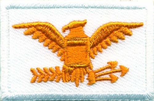"""Colonel, Embroidered Rank, Pair, Dark Gold/White, 1-3/4x1-1/8"""""""