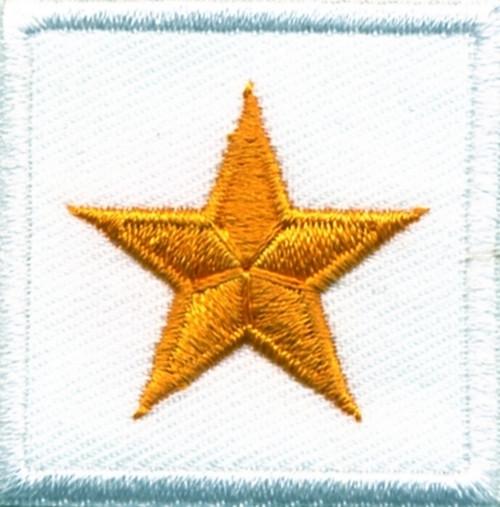 "General (1 Star), Embroidered Rank, Pair, Dark Gold/White, 1-1/2x1-1/2"""