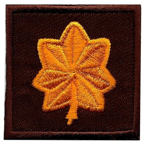 "Major, Embroidered Rank, Pair, Dark Gold/Brown, 1-1/2x1-1/2"""