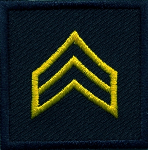 """SGT, Embroidered Rank, Pair, MedGold/Midnight, 1-1/2x1-1/2"""""""