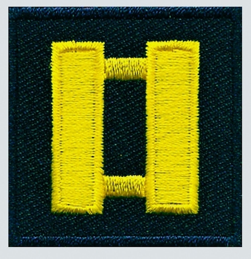 """Captain, Embroidered Rank, Pair, MedGold/Midnight, 1-1/2x1-1/2"""""""