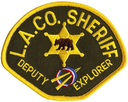 "DEPUTY EXPLORER LOS ANGELES COUNTY Shoulder Patch, Full Color, Full Color, 4-1/2x3-1/2"""