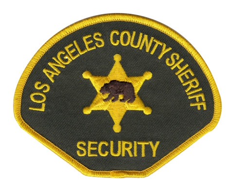 """SHERIFF SECURITY LOS ANGELES COUNTY Shoulder Patch, Full Color, Full Color, 4-1/2x3-1/2"""""""