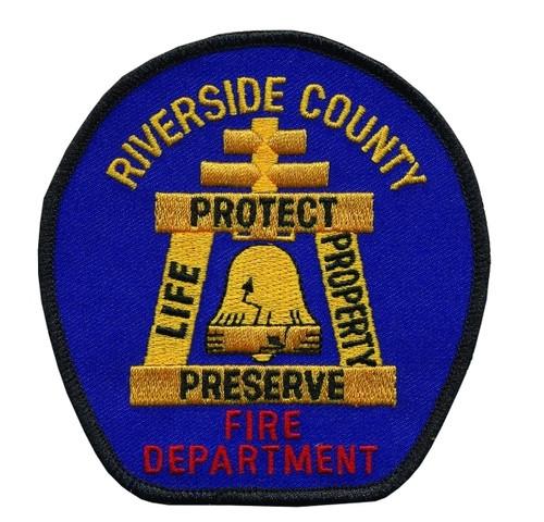 "CA RIVERSIDE COUNTY FIRE Shoulder Patch, 3-7/8x4"""