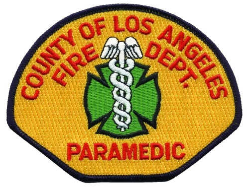 """PARAMEDIC COUNTY OF LOS ANGELES FIRE DEPT. Shoulder Patch, 4-3/4x3-5/8"""""""