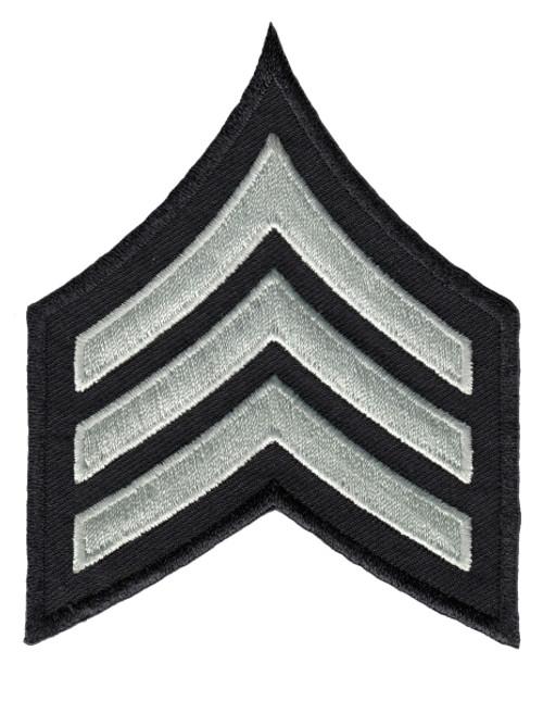 "LAPD Chevrons, Sgt1, (Sgt),Pairs, LAPD SilverGrey/Black, 3-1/8""W"