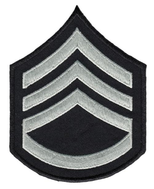 "LAPD Chevrons, Sgt2, (3+Rocker), Pairs, LAPD SilverGrey/Black, 3-1/8""W"