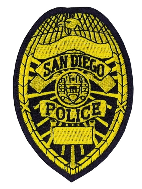 """SAN DIEGO POLICE Badge Patch, Full Color, 2-7/8x4-1/8"""""""