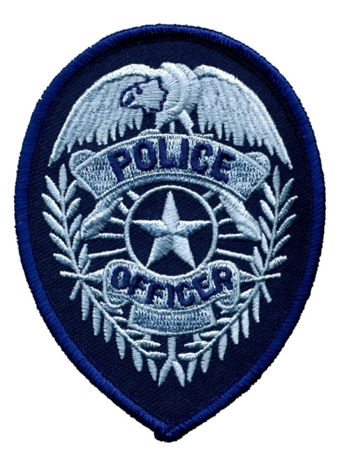 """POLICE OFFICER Badge Patch, 2-3/4x3-3/4"""""""