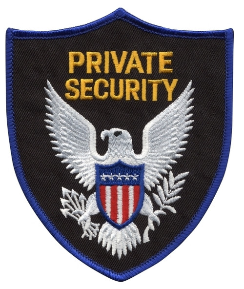 """PRIVATE SECURITY OFFICER Shoulder Patch, Blue Border, 3-3/4x4-1/2"""""""