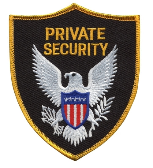 """PRIVATE SECURITY OFFICER Shoulder Patch, Gold Border, 3-3/4x4-1/2"""""""