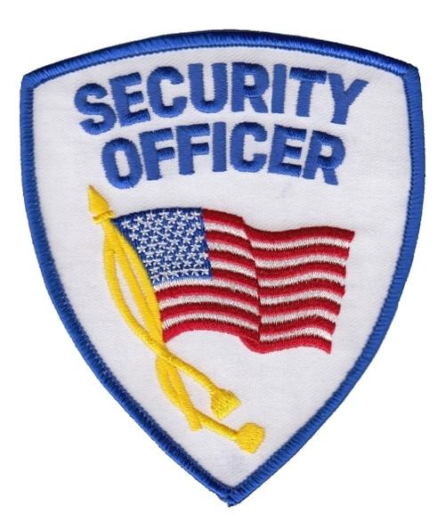 "SECURITY OFFICER Shoulder Patch, w/Flag, 3-3/4x4-3/4"""