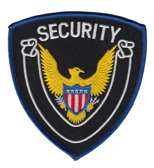 "SECURITY Shoulder Patch, Royal Blue Border, 4x4-3/8"""
