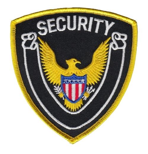 "SECURITY Shoulder Patch, Medium Gold Border, 4x4-3/8"""