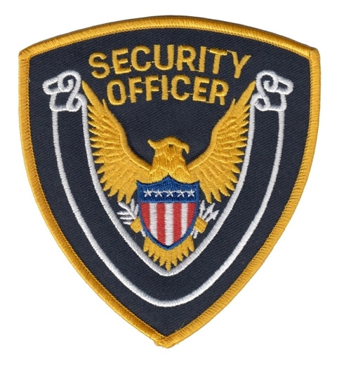 """SECURITY OFFICER Shoulder Patch, Gold/Dk Navy Twill, 4x4"""""""