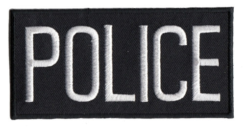 """POLICE Chest Patch, White/Black, Heat Seal, 4x2"""""""