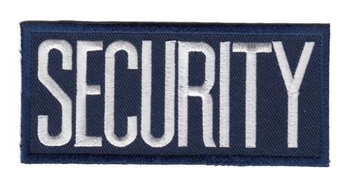 """SECURITY Chest Patch, Heat Seal, White/Navy, 4x2"""""""