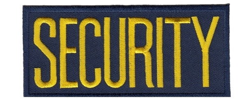 """SECURITY Chest Patch, Medium Gold/Navy, Heat Seal, 4x2"""""""