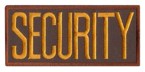"""SECURITY Chest Patch, Dark Gold/Brown, Heat Seal, 4x2"""""""