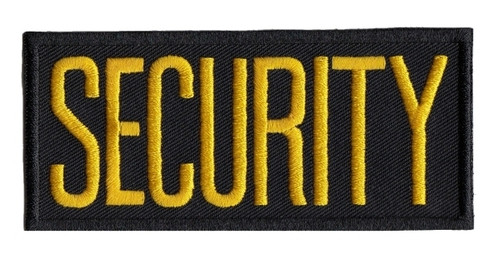 "SECURITY Chest Patch, Medium Gold/Black, Heat Seal, 4x2"""