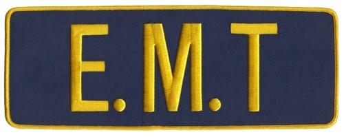 "E.M.T. Back Patch, Medium Gold/Navy, 11x4"""