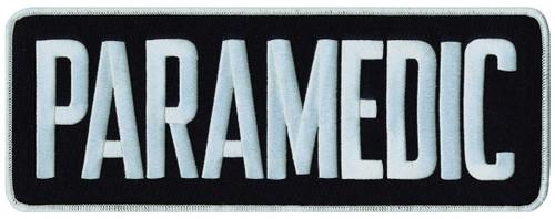 "PARAMEDIC Back Patch, White/Midnight Navy, 11x4"""