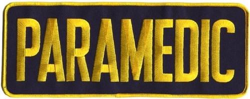 "PARAMEDIC Back Patch, Medium Gold/Navy, 11x4"""