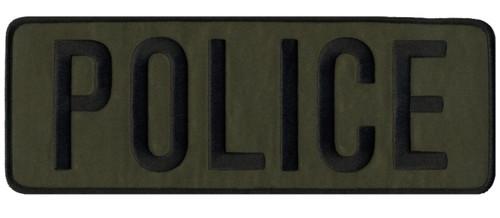 """POLICE Back Patch, Black/O.D., 11x4"""""""