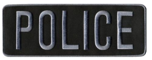 """POLICE Back Patch, Grey/Black, 11x5-1/2"""""""