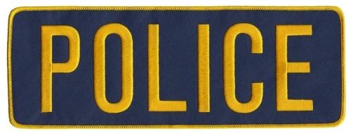 "POLICE Back Patch, Medium Gold/Navy, 11x4"""