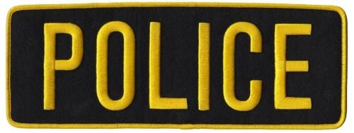 "POLICE Back Patch, Medium Gold/Black, 11x4"""