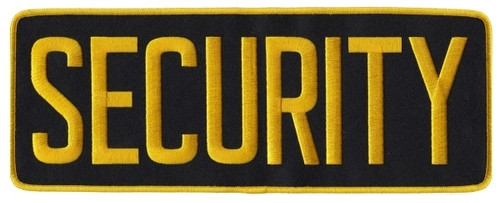 "SECURITY Back Patch, Medium Gold/Black, 11x4"""