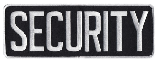 """SECURITY Back Patch, White/Black, 11x4"""""""